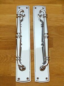 LARGE CHROME ART DECO DOOR PULL HANDLES KNOBS PLATES FINGER GRAB VINTAGE PAIRS