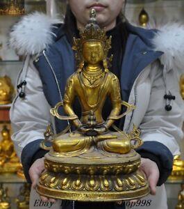 13-034-Old-Tibetan-Buddhism-Bronze-gilt-Amitayus-Tara-Kwan-yin-Goddess-Buddha-Statue