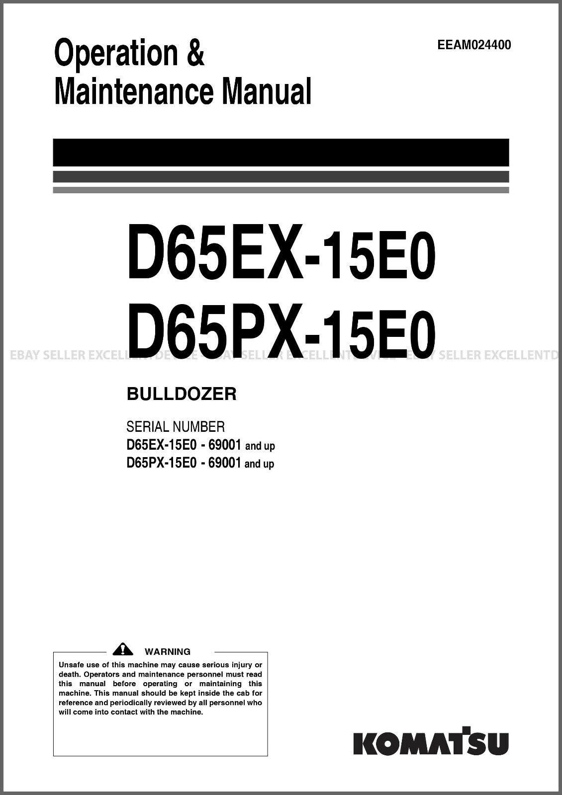 Heavy Equipment Manuals & Books D65WX Crawler Dozer Bulldozer Shop ...