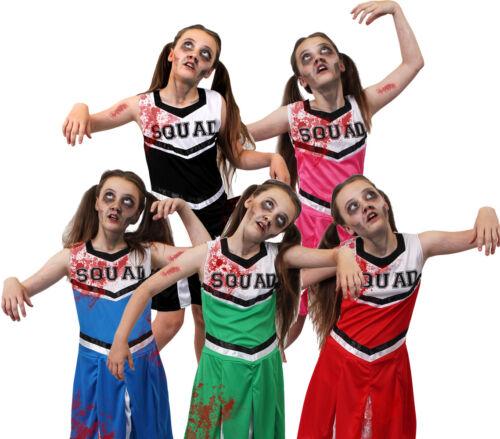 GIRLS ZOMBIE CHEERLEADER COSTUME KIDS HALLOWEEN FANCY DRESS DEAD CHEER SQUAD