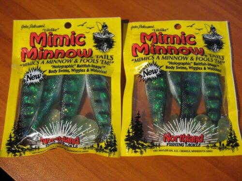 """2 Packs Northland 3 1//2/"""" Mimic Minnow Tails Soft Fishing Bait Lures Perch"""