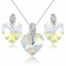 WHITE CRYSTAL HEART NECKLACE EARRINGS JEWELLERY SET SWAROVSKI ELEMENT CRYSTALS.