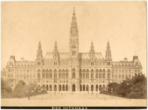 Autriche-Osterreich-Vienne-Wien-Rathaus-vue-generale-Vintage-albumen-print