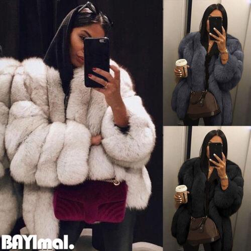 Women Wintert Faux Fur Fluffy Coat Ladies Thick Warm Jacket Outwear Plus Size UK