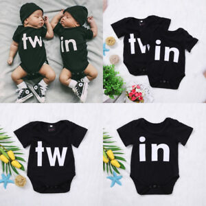 4318880be16 Image is loading Newborn-Baby-Boy-Girl-Infant-Romper-Jumpsuit-Bodysuit-.  Sleeveless Bodysuit.  Twinning Twin Bodysuits ...