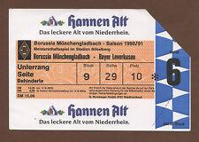 ORIG. ticket 1. liga 90/91 borussia mönchengladbach-bayer 04 leverkusen
