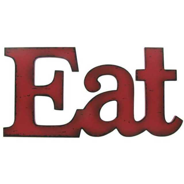 Eat Kitchen Decor Dining Room Wall Vintage Style Sign Rustic Red Wood For Sale Online Ebay