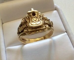 Gents-Vintage-Full-Hallmarked-Solid-Heavy-9-Carat-Gold-Saddle-Ring-Size-Y