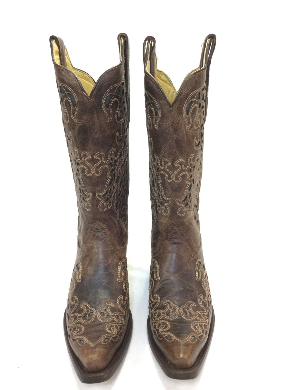 e8961670b90 Women's Corral Boots, Brown w Turquoise Inlay & Snip Toe nszxnu2639 ...