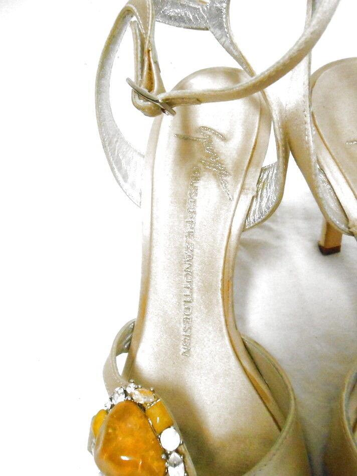 GIUSEPPE ZANOTTI cream satin strappy Sandales schuhe w gemstones SEXY 36.5 6.5 SEXY gemstones c85b01