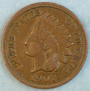 1907-Indian-Head-Cent-Vintage-Penny-Old-US-Coin-Liberty-Full-Rims-Fast-S-amp-H-500