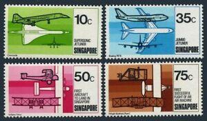 Singapore 312-315,MNH. 1st powered flight.75.Boeing 747B,Vickers-Vimy,Concorde