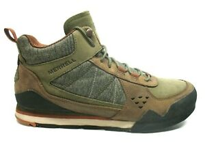 Merrell-Dusty-Olive-Canvas-Suede-Casual-Walking-Sneaker-Shoes-Mens-9M-EUC