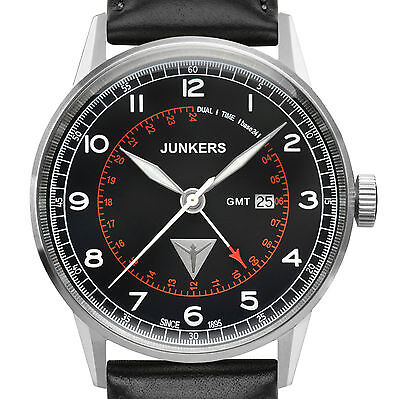 JUNKERS 6946-2 SERIE G38 GMT FLIEGERUHR EDELSTAHL BLACK DIAL DATUM LEDERBAND NEU