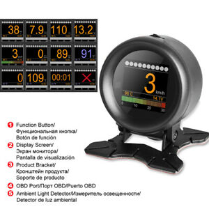 OBD-2-HUD-Digital-Speedometer-Engine-Temperature-Oil-Thermometer-Boost-Gauge