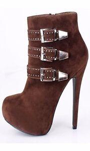 strass plateforme d'hiver luxe haut boucle Dames cheville taille bottes chaussures talon dUqw0E