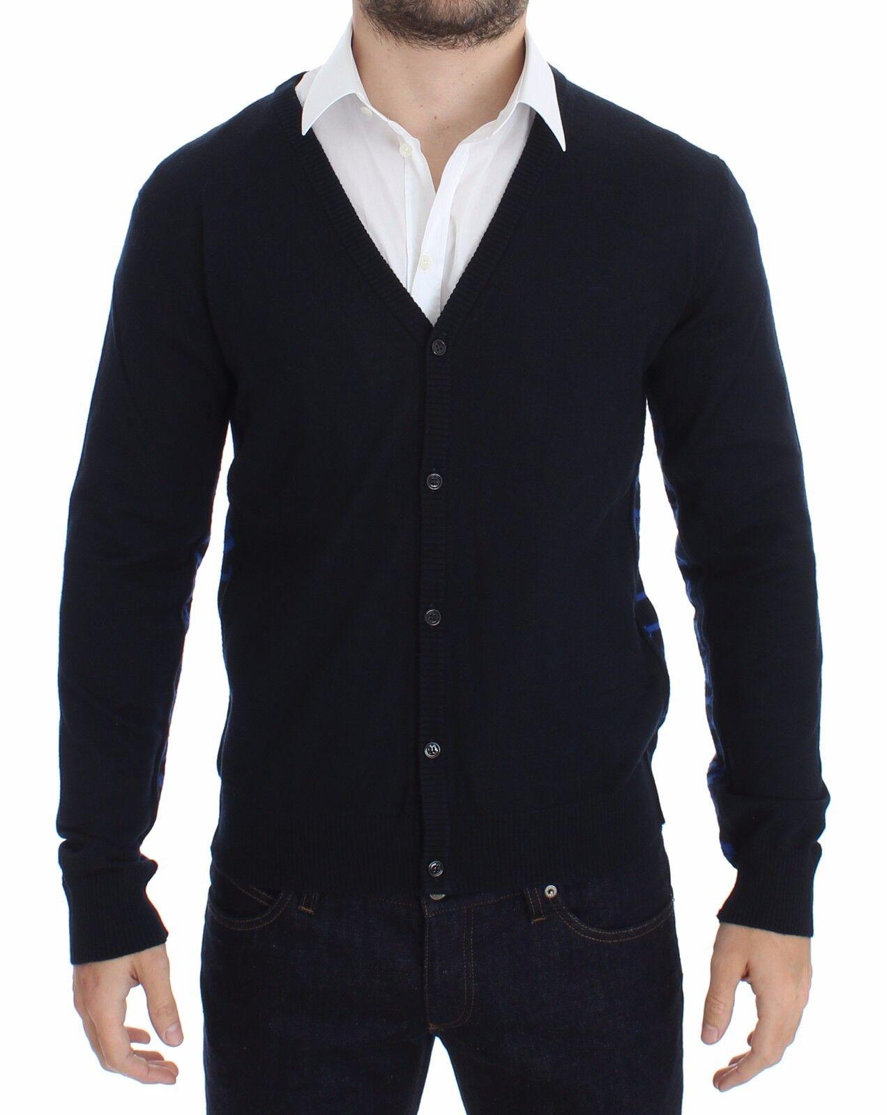 NUOVO Galliano blu lana con bottoni logo maglione cardigan maglia maglia maglia pullover S.S c53c64