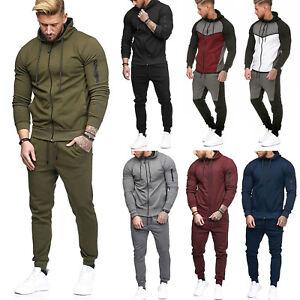 US-Men-Tracksuit-Jogging-Top-Bottom-Sport-Suit-Trouser-Slim-Fit-Hoodie-Coat-Pant