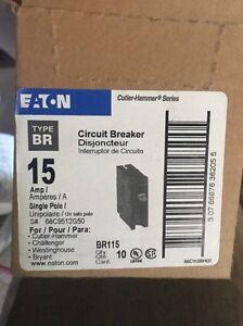 2 Eaton 15Amp Bryant BR Trip Fuse Box SinglePole Light Circuit