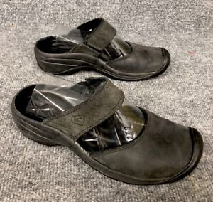 Image is loading KEEN-Saratoga-Black-Leather-Mary-Jane-Mules-Clogs-