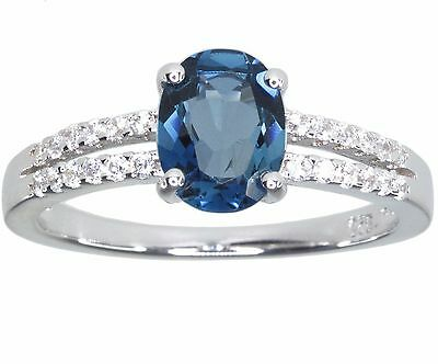 London Blue Topaz Gemstone Oval Sparkling Sterling Silver Ring