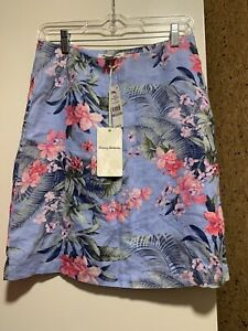 NWT$98 Tommy Bahama Bright Floral 100% Linen  A - Line Skirt Womens Sz 0