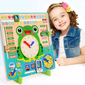 Lernen-Kalender-Uhr-Kinder-Lernspiel-Lesen-Holz-Zeit-Wetter-Jahreszeiten