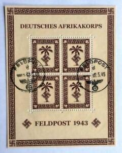 """DR 1943 Feldpost """"Tunis- Afrikakorps Palme Zulassungsmarken"""" Mi. 5a Block ?"""