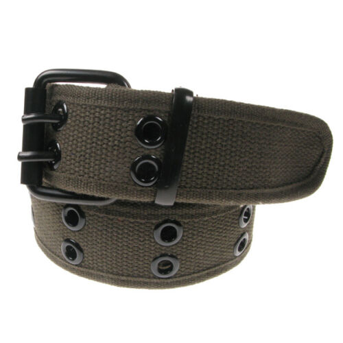Mens Plain Eyelet Webbing Canvas Belt Will Fit up to 44