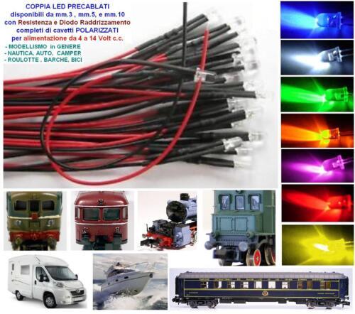 COPPIA n.2 LED CABLATI mm.5 COLORE ARANCIO a 12Vcc TRENI MODELLISMO NAUTICA AUTO