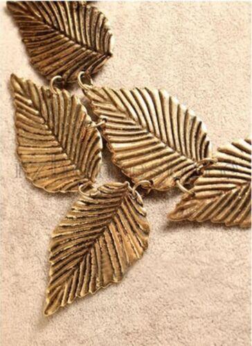 Vintage Bronze Gold Leaf Necklace Bib Dark Gold Collar Statement Choker Fashion