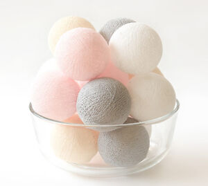 20-LOOSE-COTTON-BALLS-NOT-INCLUDE-LIGHT-STRING-Wedding-Party-Vintage-Pastel