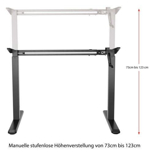 EXETA höhenverstellbarer Schreibtisch Tischgestell schwarz Bürotisch mit Kurbel