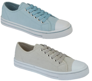 Ladies Canvas Trainers Lace Up Plimsoll