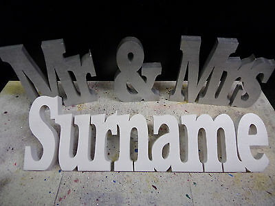 wedding gift personalised mr & mrs + surname table decoration freestanding sign