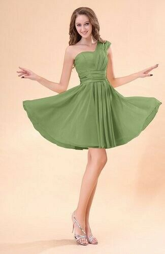 Moss Green Cute A-line Sleeveless Mini Ruching Wed