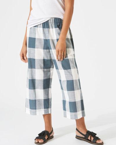 Jigsaw Vichy Jambe Large Pantalon pour femme New Green Sea Green