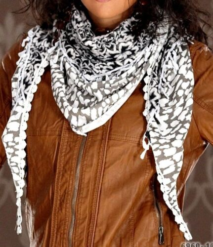 Tuch Palituch Halstuch Schal schwarz weiss natur Tuch Halstuch Drachenviereck