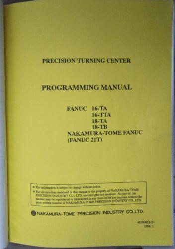 NAKAMURA-TOME TW-10 OPERATION /& PROGRAMMING MANUAL