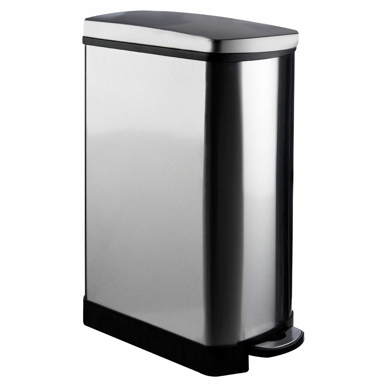 Rectangle 35 Litre Waste Pedal Bin New Stainless Steel, Mirror Finish