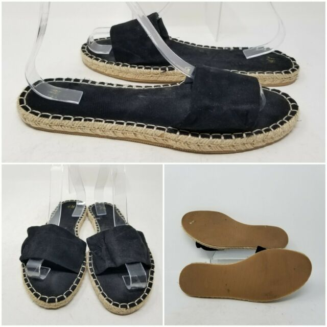 H&M Black Suede Espadrilles Slip On Sandal Slides Women's Size 9.5