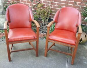 Pair-Art-Deco-Leather-Studded-amp-Oak-Framed-Lounge-Club-Chairs-DELIVERY-POSSIBLE