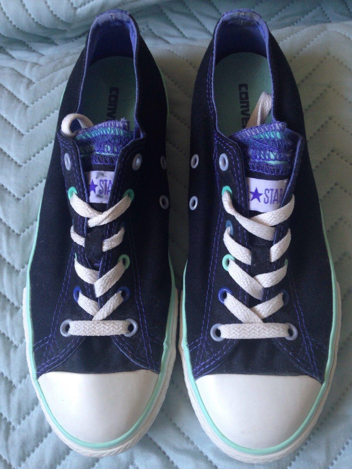 Femmes Filles Noir Converse All Star Tennis Baskets, peu porté, Taille UK 4.5