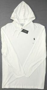 NEW-55-Polo-Ralph-Lauren-Hoodie-White-Long-Sleeve-Hooded-Tee-Shirt-Mens-NWT
