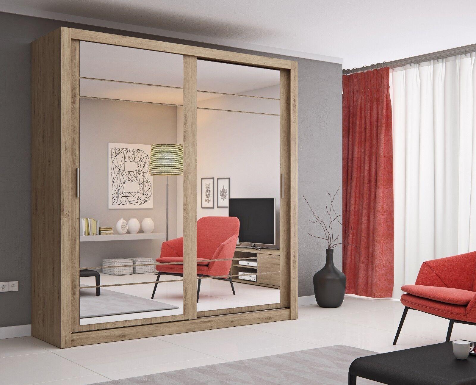 Brand New Modern Bedroom Mirror Sliding Door Wardrobe Arti 8 203cm