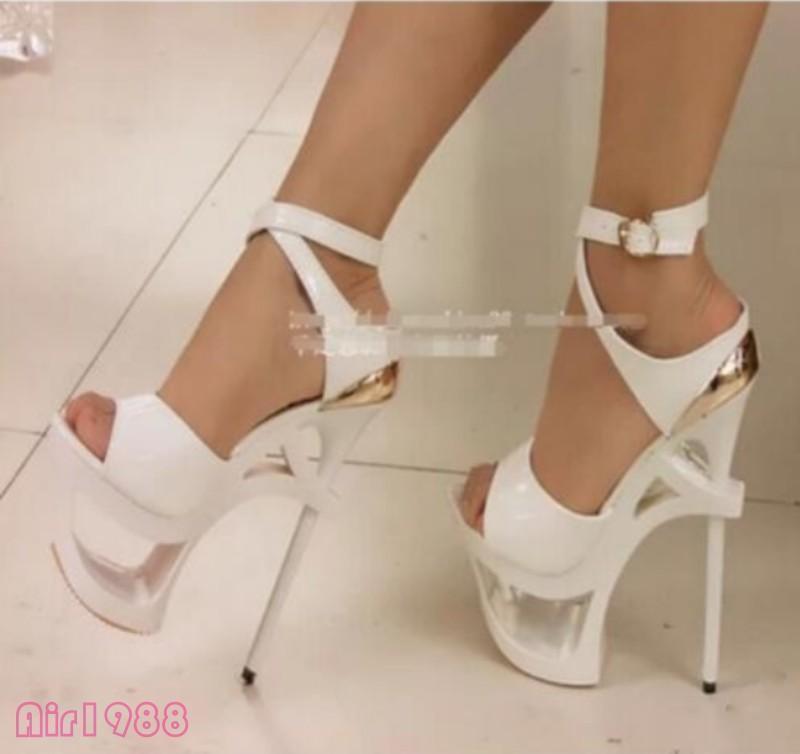 Womens Platform Nightclub Party New Sexy Over High Heel Ankle Strap Stilettos