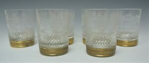Set-of-6-Rocks-Glasses-French-Cut-Crystal-with-Ormolu-Bronze-Rings