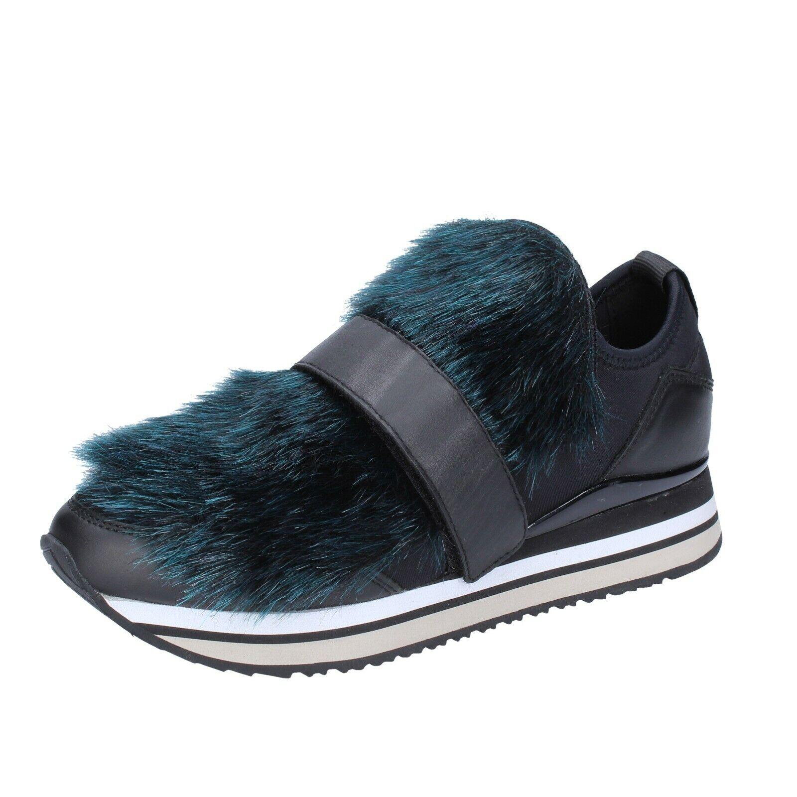 Chaussures Femmes crime Londres 39 UE Slip on Noir Textile Cuir Fourrure bs950-39