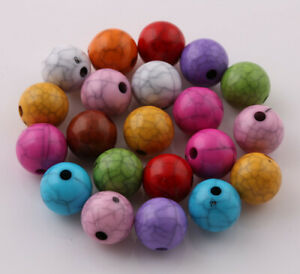 100 Pcs Crack effet Acrylique Spacer Bead Charms Jewelry Making Findings 8 mm
