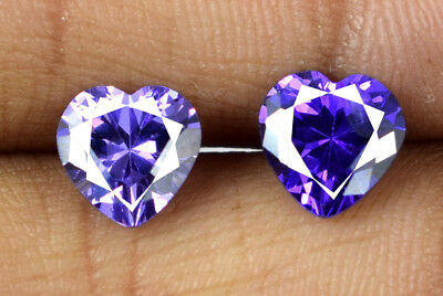 Loose Gemstone Pair 4.20 Ct Heart Shape Purple Sapphire Natural AGSL Certified